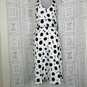 NWT AB Studio White & Black Halter Dress